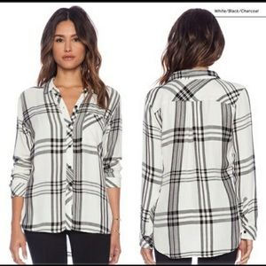 Rails soft plaid button down in white with blk pld